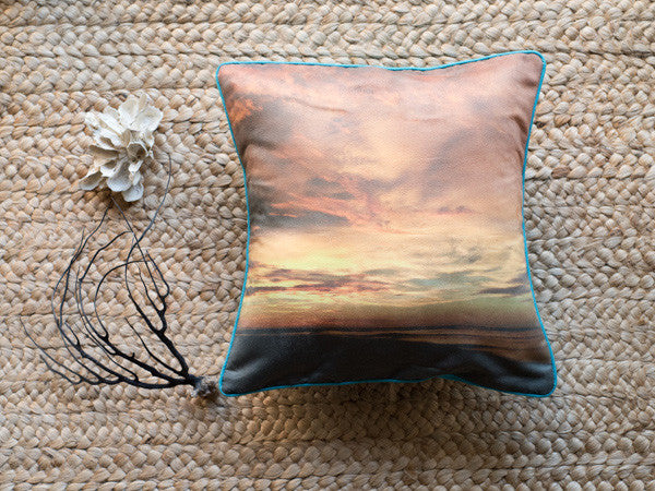 Golden State of Mind accent pillow by Samba to the Sea at The Sunset Shop. Golden sunset in Tamarindo, Costa Rica photograph by Kristen M. Brown, Samba to the Sea.