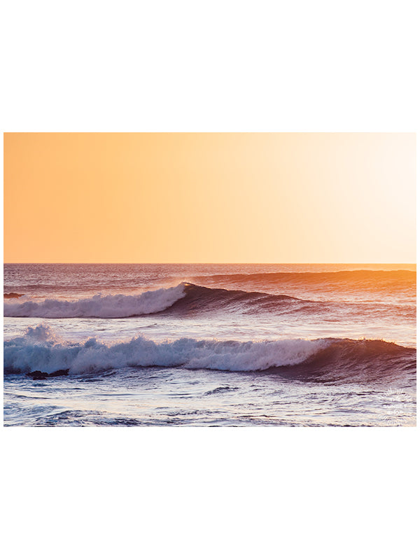 Golden sunset waves. Gone Surfing print by Samba to the Sea at The Sunset Shop. Image of breaking waves during a golden sunset in Costa Rica.