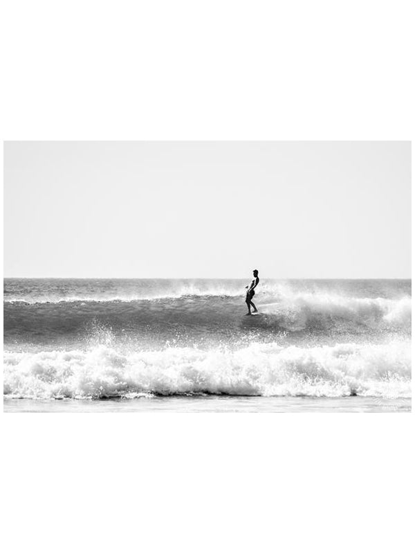 Surf print by Samba to the Sea. Wingnut from Endless Summer hanging five surfing in Tamarindo Costa Rica.