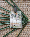 Ocean view hammock under palm trees in Costa Rica. Beach happy place 5x7 wanderlust print at The Sunset Shop by Samba to the Sea.
