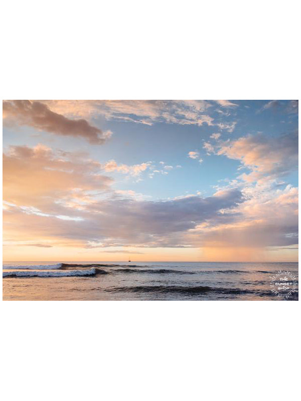 Beautiful pink rain and pastel sunset in Tamarindo Costa Rica. Photographed by Samba to the Sea for The Sunset Shop.