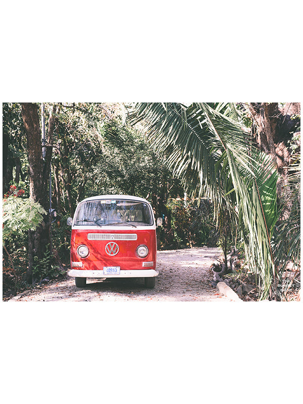 "Life is simple - - surf 🏄🏼‍♀️ , jam 🎸, live life in a VW Van 🚌 . Channel those carefree, summertime beach days at home with this tropical VW bus print in Nosara, Costa Rica.  ""Jingle Bus"" print by Kristen M. Brown, Samba to the Sea."