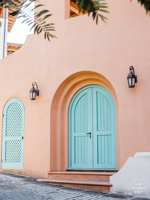I'll take what's behind door color turquoise, por favor and gracias! 😍 Question is, you wanna go halfsies??? Mediterranean turquoise doors in Las Catalinas, Costa Rica. Photographed by Kristen M. Brown, Samba to the Sea.
