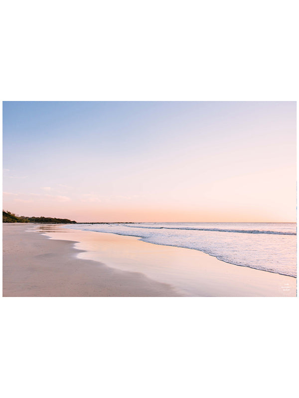 """Life's a Peach"" beach sunset print by Samba to the Sea at The Sunset Shop. Image is a pastel peach sunset at the beach in Playa Langosta, Costa Rica."