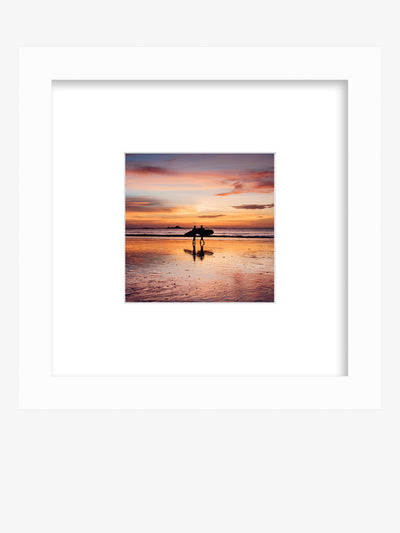 Sunset surfer framed beach shelfie. All you need is love, surf, and sunsets. Love, surf, and sunsets wanderlust image by Samba to the Sea at The Sunset Shop.