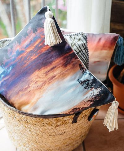 Magic on the Marsh tassel throw pillow by Samba to the Sea at The Sunset Shop. Beautiful sunrise in Savannah Georgia.