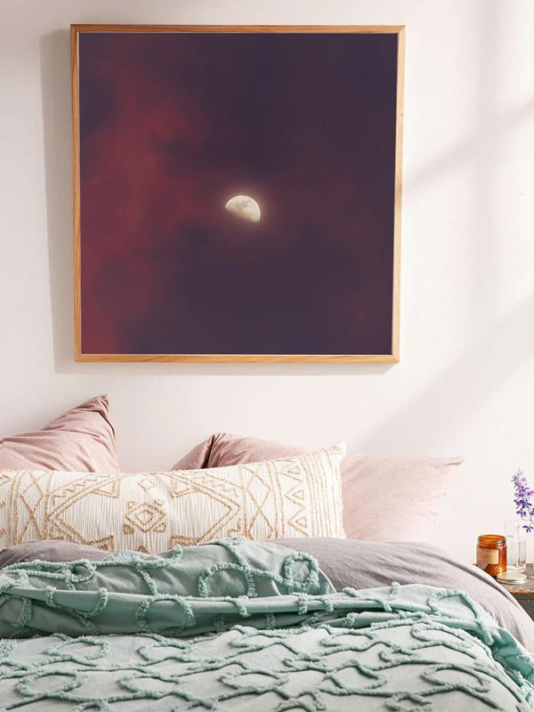 Moon against pink and purple sky in Tamarindo Costa Rica. Moon Child print by Samba to the Sea at The Sunset Shop.