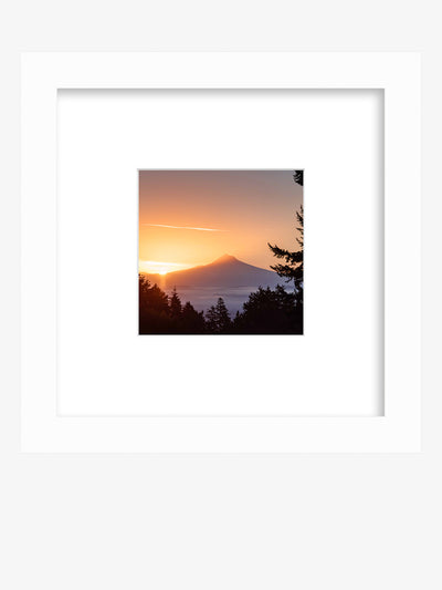 "Framed shelfie print of a golden sunrise over Mount Hood from downtown Portland, Oregon. ""Mountain Morning Greeting"" sunrise print by Kristen M. Brown, Samba to the Sea."