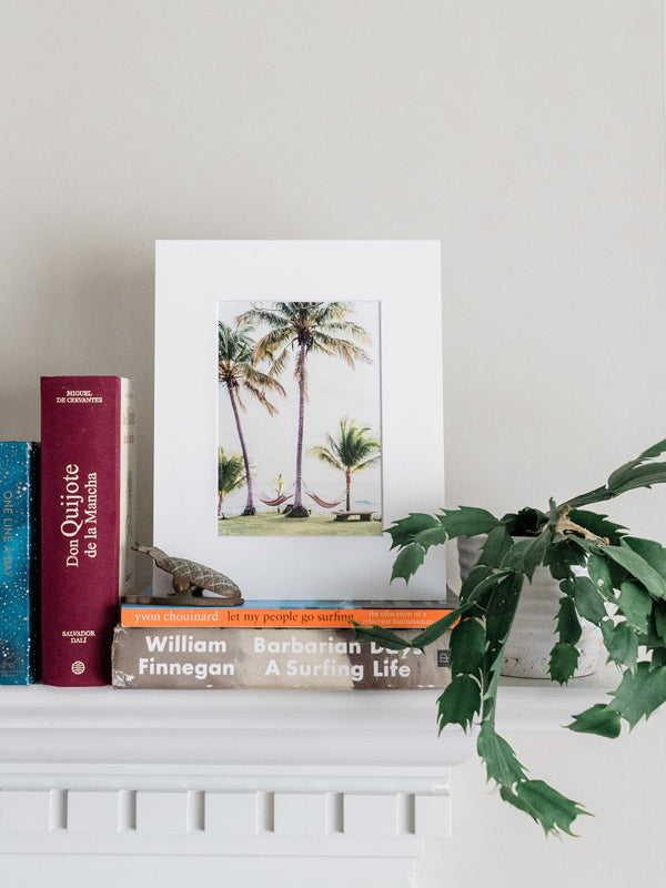 Hammocks under palm trees with an ocean view in Costa Rica. No Palm-blems matted photo print at The Sunset Shop by Kristen M. Brown, Samba to the Sea.