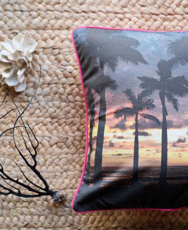 Ocean Grown accent pillow by Samba to the Sea at The Sunset Shop. Photo of a palm tree grove with a gorgeous Costa Rican sunset by Kristen M. Brown, Samba to the Sea.