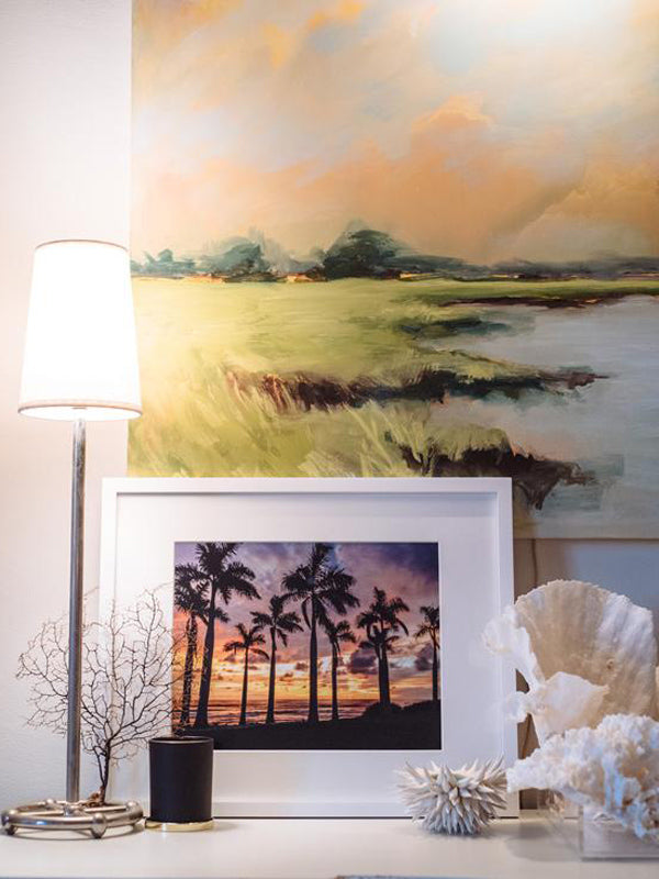 Coastal decor with coral, marsh painting and a sunset palm tree print. Palm Tree sunset print Ocean Grown. By Samba to the Sea for The Sunset Shop.