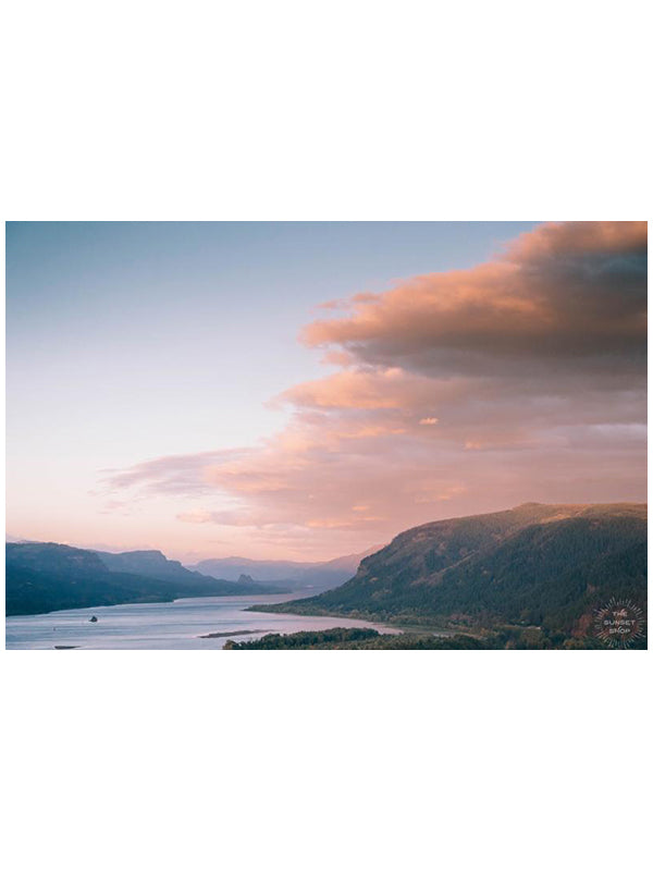 "Pastel pink sunset sky over the Columbia Rive Gorge in Oregon. Sunset sky over Hood River in Oregon. ""Oregon Gorgeous"" pastel sunset print by Kristen M. Brown, Samba to the Sea."