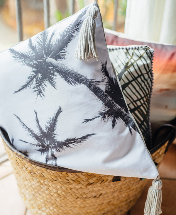 Palm Trees and 80 Degrees black and white palm trees accent pillow by Samba to the Sea.