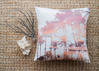 Palm trees infused with a sunset, double exposure accent pillow. Accent pillow by Samba to the Sea at The Sunset Shop.