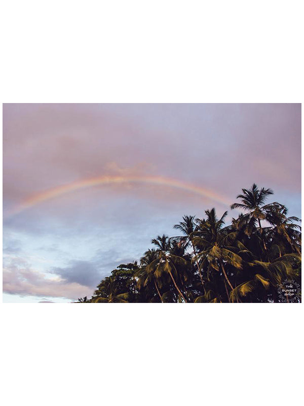 Rainbow over palm trees during sunset in Tamarindo Costa Rica. Photographed by Samba to the Sea for The Sunset Shop.