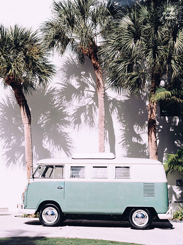 Life is simple - - surf 🏄🏼‍♀️ , jam 🎸, live life in a VW Van 🚌 . Channel those carefree, summertime beach days at home with this turquoise VW bus print.  Palmetto Bus print by Kristen M. Brown, Samba to the Sea.