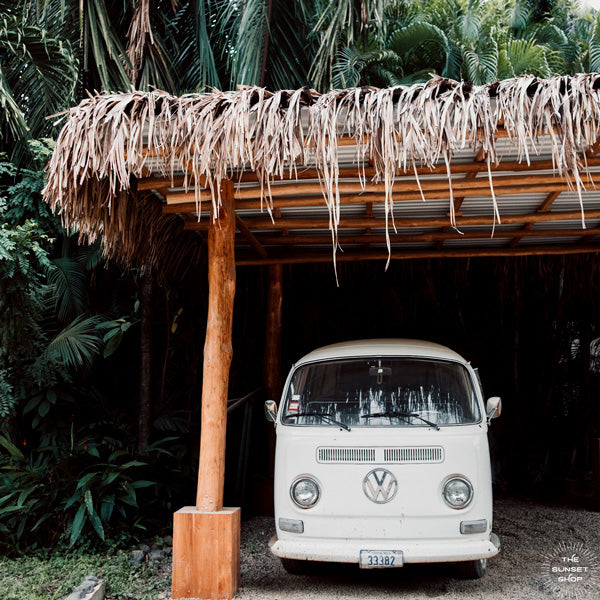 Tropical VW Bus framed shelfie print. Life is simple - - surf 🏄🏼‍♀️ , jam 🎸, live life in a VW Van 🚌 . Channel those carefree, summertime beach days at home with this tropical VW bus print in Nosara, Costa Rica. Pura Vida Bus print by Kristen M. Brown, Samba to the Sea.
