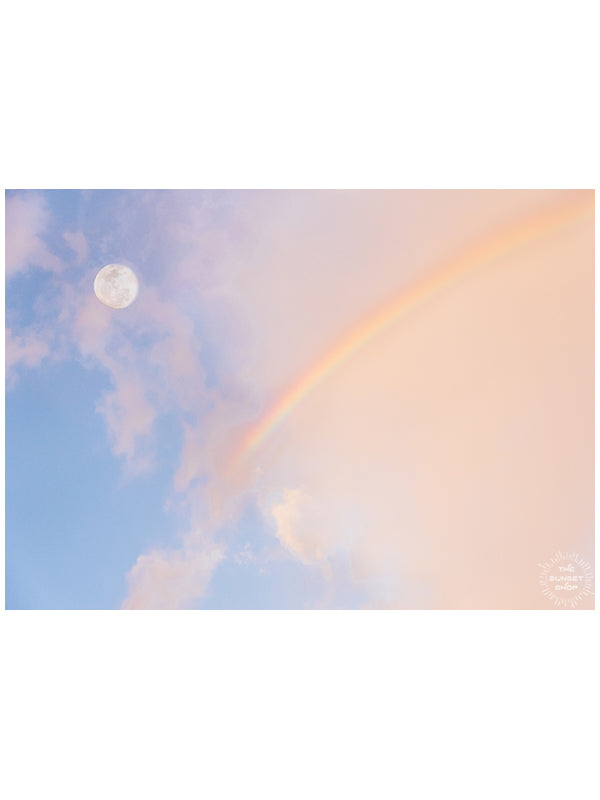 Moon setting in a sunrise rainbow sky in Costa Rica. Photographed by Kristen M. Brown of Samba to the Sea for The Sunset Shop.