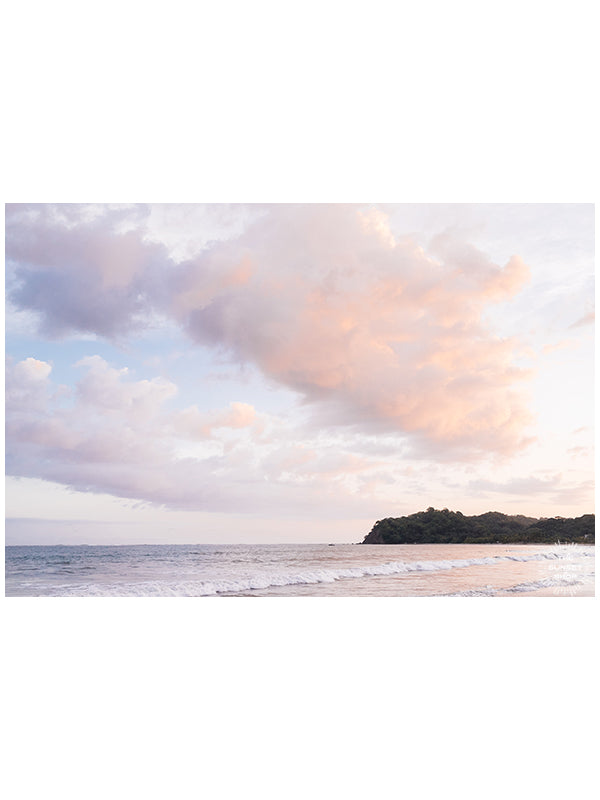 "Serene sunset pastel pink sunset sky over the Pacific Ocean in Samara Costa Rica. ""Sherbet Dreams"" photographed by Kristen M. Brown, Samba to the Sea at The Sunset Shop."