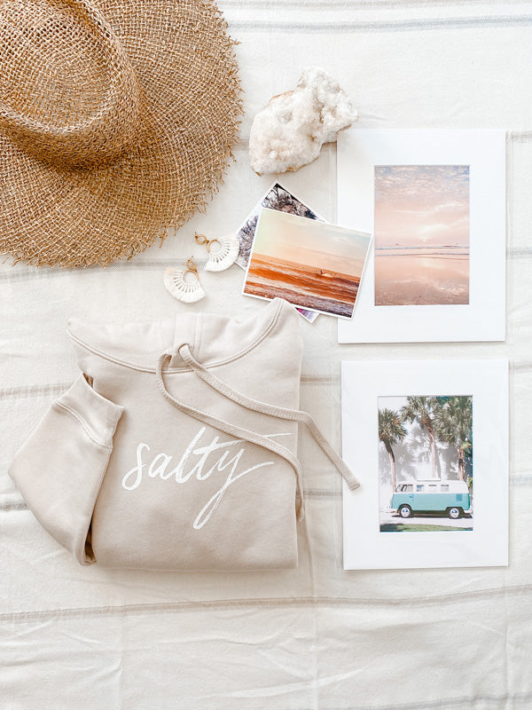 Salty Cropped Hoodie with Photo Prints + Wanderlust Postcards