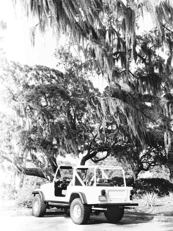 Black & White vintage white CJ parked under Oak trees dripping with Spanish Moss in Savannah, Georgia. Photographed by Kristen M. Brown of Samba to the Sea for The Sunset Shop.
