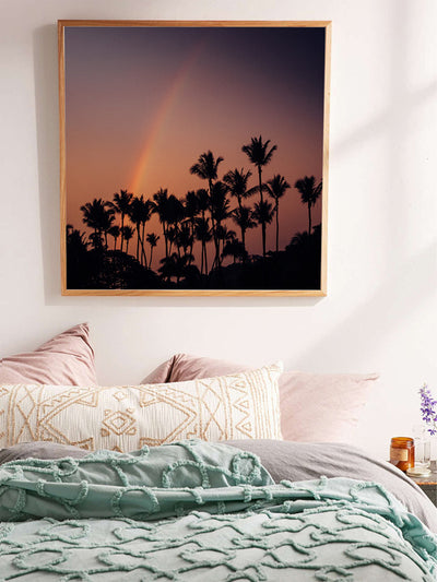 Palm trees and a rainbow sunset sky in Tamarindo Costa Rica. Photographed by Samba to the Sea for The Sunset Shop.