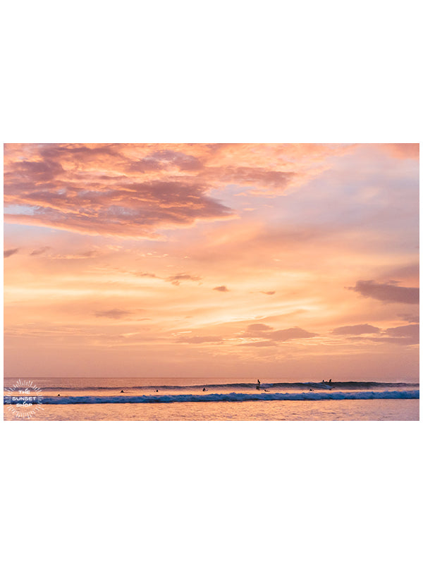 Because the best kind of therapy is surf therapy during one magical sunset, especially splitting the peak with your surf amigo! Costa Rica sunset surf fine art photo photographed by Kristen M. Brown, Samba to the Sea for The Sunset Shop.