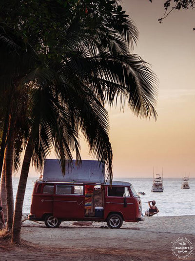 The Sunset Bus print by Samba to the Sea at The Sunset Shop. Photograph of a VW Bus on the beach in Tamarindo, Costa Rica during sunset.The Sunset Bus print by Samba to the Sea at The Sunset Shop. Photograph of a VW Bus on the beach in Tamarindo, Costa Rica during sunset.