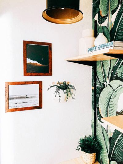Surf print by Samba to the Sea. Wingnut from Endless Summer hanging five surfing in Tamarindo Costa Rica. Surf shack banana leaf surf print office.