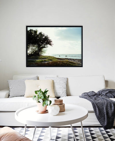 Surfers crossing the river in Tamarindo, Costa Rica. Surfer Crossing print by Samba to the Sea at The Sunset Shop.