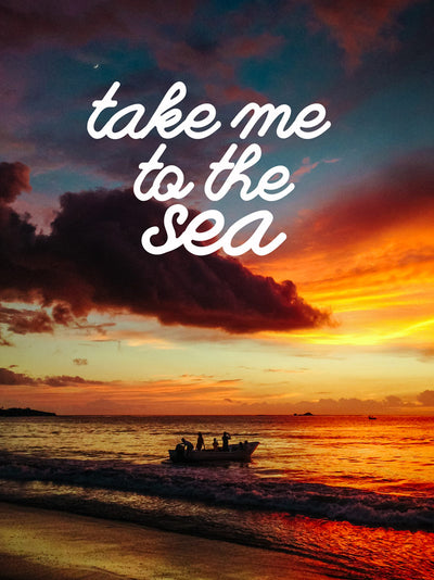 Boaters enjoying a beautiful sunset in Costa Rica. Take Me To The Sea wanderlust image by Samba to the Sea at The Sunset Shop.