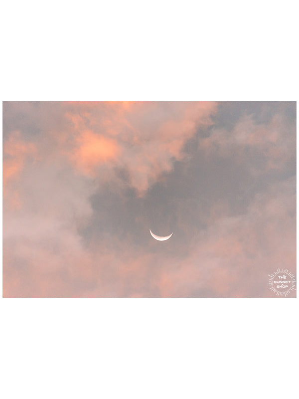 Crescent moon against a cotton candy pink sunrise sky in Savannah Georgia. To the Moon and Back crescent moon print by Samba to the Sea at The Sunset Shop.