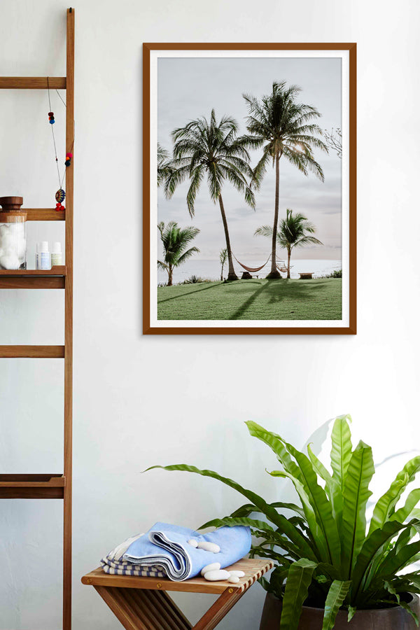 Ocean view hammock under palm trees in Costa Rica. Beach print at The Sunset Shop by Samba to the Sea.