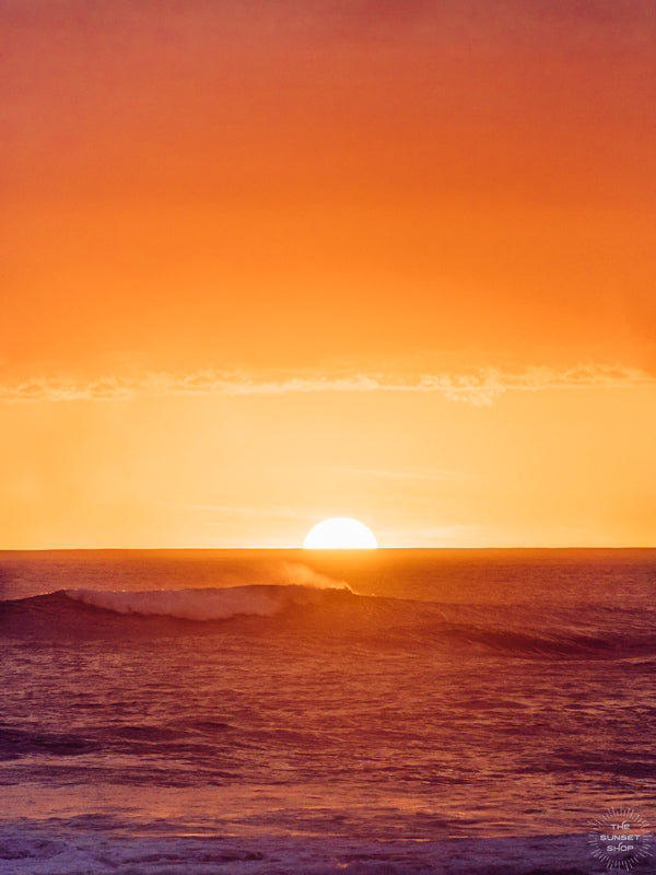 Golden sunset waves in Costa Rica. Wave Bandito surf print by Samba to the Sea at The Sunset Shop. Image of breaking waves during a golden sunset in Costa Rica.