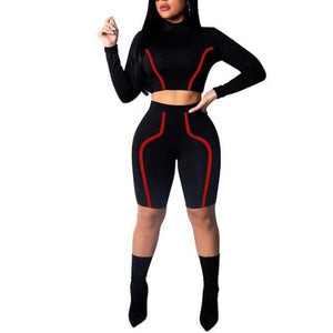 e959ccb97545 Nessa Longsleeve Crop Top and Biker Shorts Two Piece Set (Black, Blue, Red