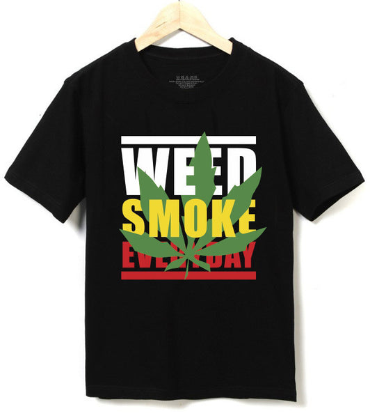 New Fashion 2016 Summer Men Clothing Jamaica Weed Smoke Everyday Tee Men's T-shirt Top Cotton Short sleeve O-Neck T shirts