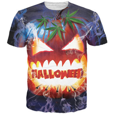 Halloween T-Shirt Men Women Funny 3D t shirts Jack-O'-Lantern Monster Prints tshirts Harajuku Tee Shirts Weed t shirt