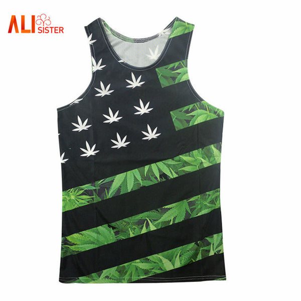 Alisister Harajuku Style Men/women's Tank Tops 3d Print Hemp Weed Leaf Floral Sleeveless T-shirt Flag Vest Man Striped Tank Top