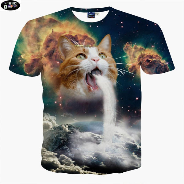 Mr.1991 Super powers cat printed 3D t-shirt for boys fashion girls t shirt summer animal printed big kids 11-20years t shirt A4