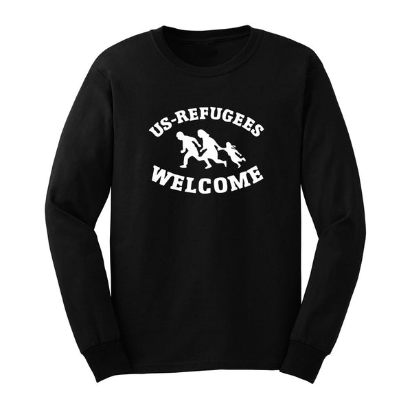 Mens US REFUGEES WELCOME- Anti Trump Long Sleeve T-Shirts Casual Men Tee
