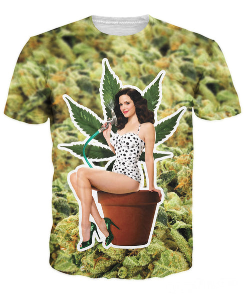 Weeds Nancy Botwin selling Print funny T-Shirt Weed leaf hemp scoop neck Sexy Women t shirt tee  tops plus size