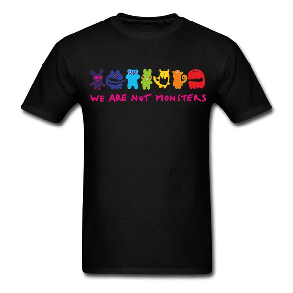 White Short Sleeve Custom Gay Lesbian Pride We are not Monsters T Shirt Men's Fashion XXXL His And Hers Tshirts