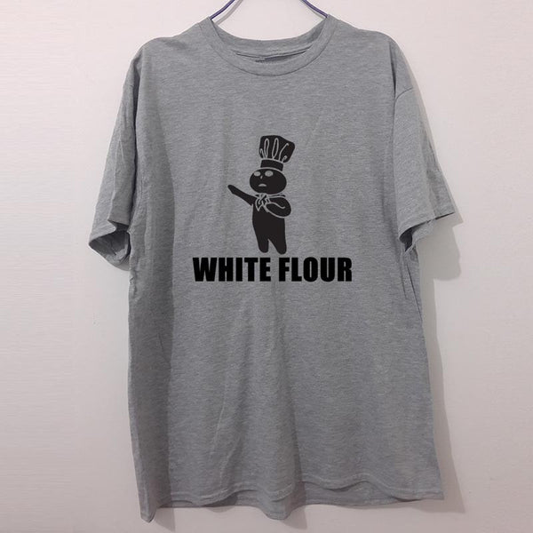 Fashion New T Shirts Men Short Sleeve White Flour Power Spoof Political Humor Rude