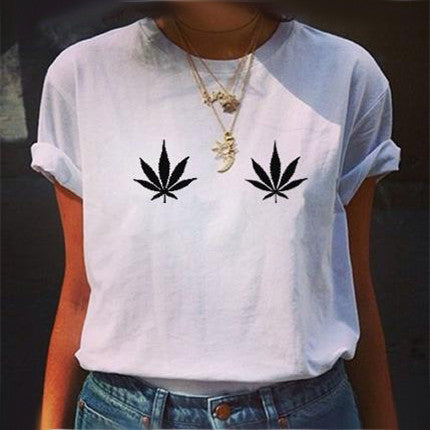 Novel Weed On Boob / Breast Logo Print Women T-shirt Girl Vogue Combed Cotton Black White Grey Printed Female Girls Clothes