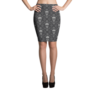 Front view of skull print pencil skirt in high heels