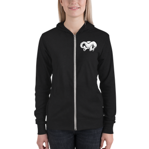 Front view woman wearing skull and tentacle print zip up hoodie