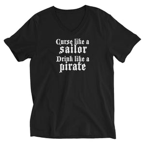 black v-neck t-shirt that reads 'curse like a sailor drink like a pirate""