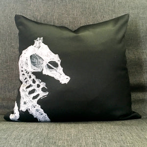 Seahorse Skeleton Throw Pillow