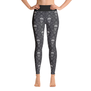 Front view skull print yoga leggings