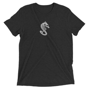 Charcoal t-shirt with seahorse skeleton logo